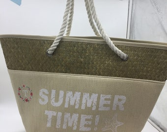 "50% OFF SALE (Limited Time): Monogrammed Wreath ""Summer Time"" Straw & Cotton Tote"