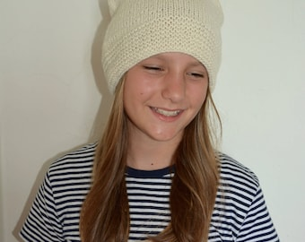 Knitted hat, 100% Alpaca, hat woman/girl, Hat for winter