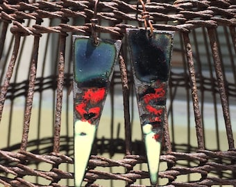 Enamel abstract earrings