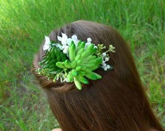 Succulent floral crown Bridal hair comb Greenery wedding Wedding hair halo Bridal halo crown Wedding hair comb Bridesmaid floral comb