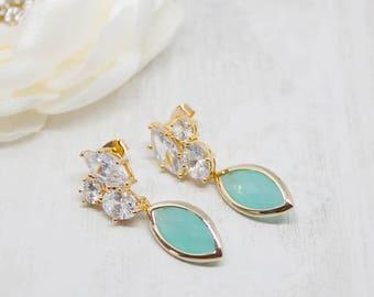 Yellow gold wedding jewellery earrings Bridal jewelry Mint green earrings