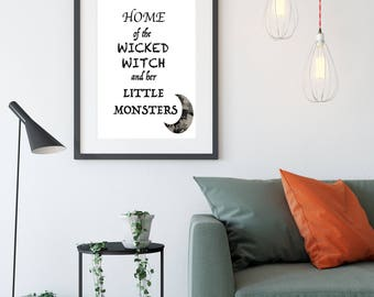 halloween decorations halloween printable wall art wicked witch sign halloween party decor