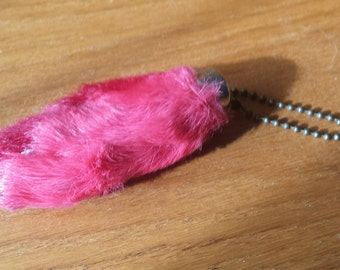 Retro Pink Rabbit Foot Keychain From the 70's
