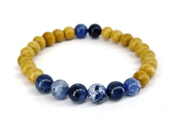 Sodalite and Sandalwood Mala Bracelet