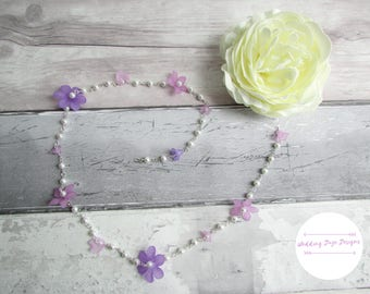Flower Hair Chain, Bridesmaid Hair Piece, Summer Hair Chain, Lilac Hair Chain, Bohemian Hair Chain, Hair Jewellery, Hair Accessory