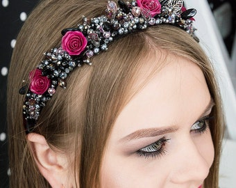 Black headband Black crystal crown Gothic Headpiece Gothic tiara Gothic crown Wedding Gothic Crown Gothic headdress Gothic bride