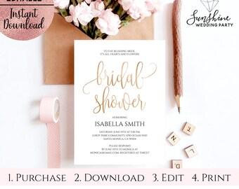 Gold Foil Script Font Bridal Shower Invitation Template, Printable White 5x7 Bridal Shower Invitation, Editable PDF file, Digital Download