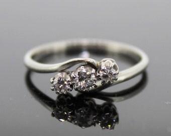 Platinum Old Cut Diamond Three Stone Ring