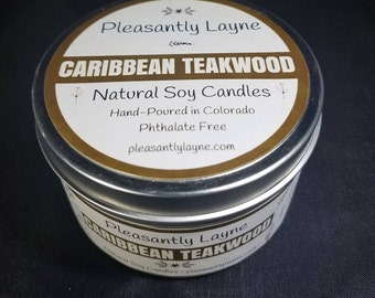 8 oz Caribbean Teakwood Scented Natural Soy Candle - Hand Poured Travel Tin