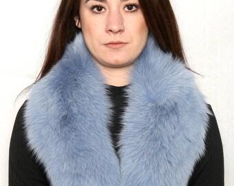 Real Natural Sea Color Fox Fur Collar