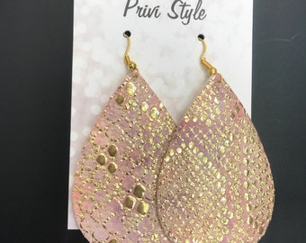 Gold Foil and Pink Snake Skin, Leather Earrings