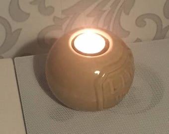 Live Well Slogan Ceramic Candle Holder, Ceramic Tealight Candle Holder, Table Tea Candle Ceramic Holder