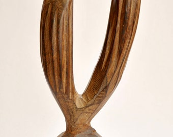 Cactus & Bird Wood Carving Vintage // VTG Saguaro and Bird Carving // Cactus Statue // Vintage Sculpture