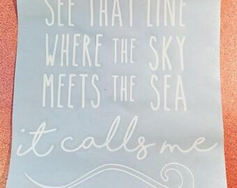 Car Decal, Ocean Decal, Surfer Decal, Sailing Sticker, Moana, Waves, Water Sticker