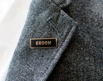 Groom Enamel Lapel Pin // hard enamel pin / cloisonne pin / bride and groom pins / shower gift / bachelor party gift / wedding gift