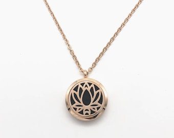 Rose Gold Open Lotus Flower Aromatherapy Necklace