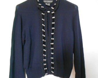 ANDREA JOVINE women's blue long sleeve sweater/Cardigan blue sweater/Pearl rhinestone/Lace velvet sweater/size L