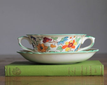 Antique Mason's Ironstone Soup Bowl with Saucer
