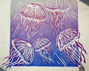 Jellyfish rising - original linocut print