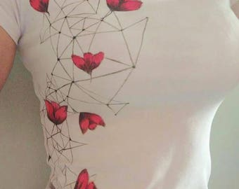 Spring is coming ! 50% OFF! Hand Painted T - shirt Poppie Mesh