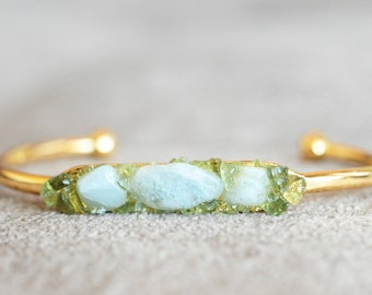 Raw Aquamarine Bracelet Aquamarine Jewelry Gemstone Bracelet Blue Bracelet Blue Stone Bracelet Birthstone Bracelet Aquamarine Gold Bracelet