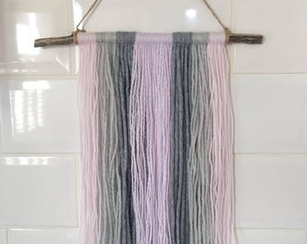 driftwood wool wall hanging - lilac, grey & pink | living room decoration, bohemian wall tapestry, wool wall hanging, boho home decor