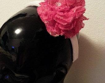 Girls Headband White and Pink