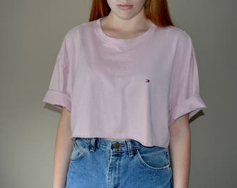 Pink Tommy Hilfiger Cropped T-Shirt