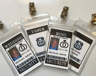 RING SECURITY BADGE - With Clip - For Ring Bearer, Wedding, Bride, Groom, Bridesmaid, Special Agent & More