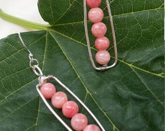 Unique handmade wire Wrapped salmon beads bar earrings