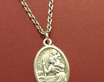 St. Christopher Medal on a Stainless Steel Necklace ~ Patron Saint of Travelers