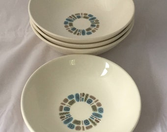 Vintage Mid-Century Temporama Atomic Bowls, 4 total, 3 soup/cereal, 1 fruit/sauce, Green, Blue, Yellow Pattern