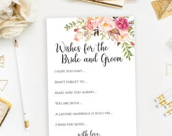 Wishes for the Bride and Groom printable Wedding advice card template Shower activities 5x7 inches Instant download PDF JPEG