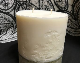 Cement Bottom Double Wick Candle