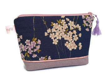 Make-up, cosmetic, toiletry bag, fabric pouch Japanese cherry blossoms, pink linen, make up bag, women gift