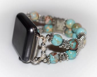 Turquoise Beaded Apple Watch Band Sterling Silver Custom Beaded Apple Watch Replacement Band Apple Watch Band Sterling Silver Bracelet Band
