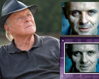 Anthony Hopkins Cross stitch pattern Movie star Modern xstitch Printable Pattern Hannibal LecterThe Silence of the Lambs Gift for grandma