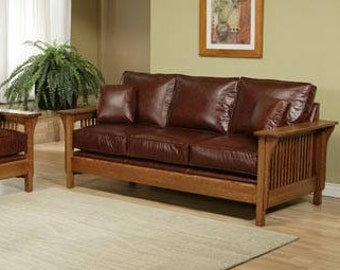 Classic Stickley Style Mission Oak High Back Leather Sofa / Settle