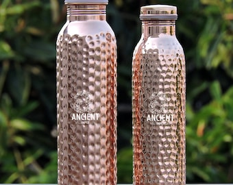 Set of Two Pure Copper Hand Hammered Water Bottles- Leak Proof- Joint Free 900 ml and 600 ml