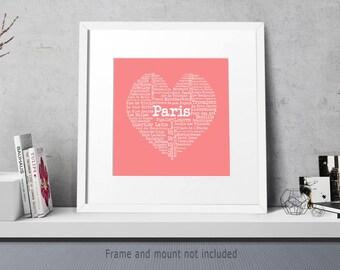 Paris Heart Print, Paris Wall Art, Heart Map, Paris Print, Typography Poster
