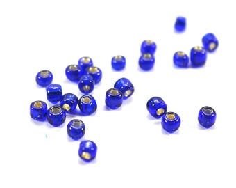 approx. 100 irregular blue glass beads white interior glass translucent seed beads 4mm beads, jewelry supplies, seed beads 4mm