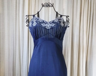 1956 Lingerie Dress Slip Navy Micheline Lavishly Embroidered Flowers Leaves and Vines Perfect Condition