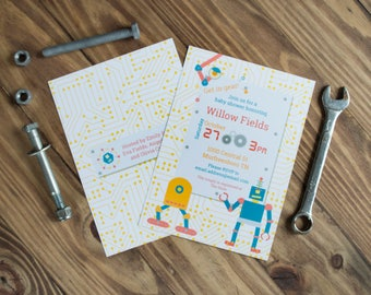 Robot Baby Shower Invitations   Retro Robot Invitations   Circuit Pattern   Printed or Printable   Gold and Blue