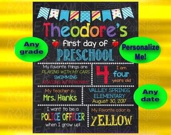 First Day Of School Chalkboard Sign, First Grade Sign, Kindergarten Sign, Second Grade, Printable Sign, Back To School Sign, Preschool Sign