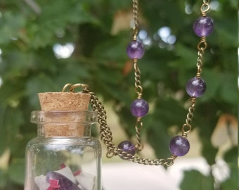 Fairy Findings - amethyst / rose quartz necklace