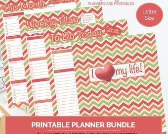 Juicy Goal-Setting Planner Bundle, printable planner set, organizational planner, day planner, week planner, letter size planner