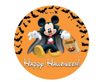 Happy Halloween Mickey Vampire and Bat Button - Mickey's Not So Scary Halloween Party Button - Halloween Pin - Theme Park Button