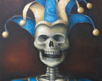 Skeleton Jester Oil Painting