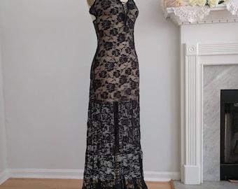 Bridal Nightgown Black Lace Long Boho Wedding | Bridesmaid | Wedding Bohemian Honeymoon, Valentine's Day, Size S - M