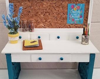 Miniature Desk, Dollhouse Writing Desk, Office Desk, Miniature Furniture, Dollhouse Furniture, Dollhouse Miniatures, Craft, Hobby, Handmade
